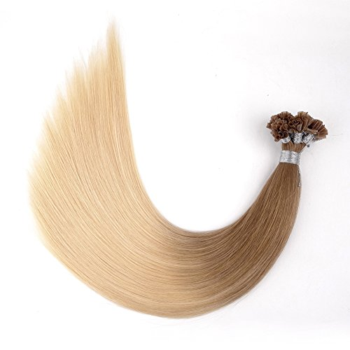 "Ty.Hermenlisa 22"" Straight Pre-bonded Nail U Tip Hair Extensions 100% Natural Smooth Remy Human Hair, 50strands/Pack, 40g, Light Ash Blonde(#T18.22)"