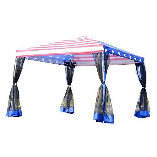 Outsunny 10' x 10' Easy Pop Up Canopy Party Tent with Mesh Walls - American Flag Print