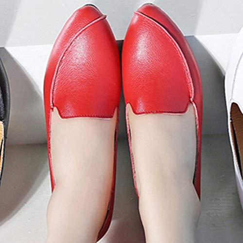Baskets Le Talon À Mocassins Rouge Femmes Haute Slip Pointu Ballerina Cuir Bout Sur Fendu Flats Chaussures Augmentation XwCSqZF