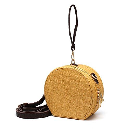 Woven Khaki JOSEKO Rattan Bag Bag Straw Bag Brown Summer Basket Wicker Circle Beach Round Purse Handmade wYxgSCZq