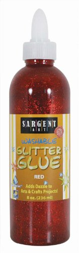 Sargent Art 22-1920 8-Ounce Glitter Glue, (Red Glitter Adhesive)