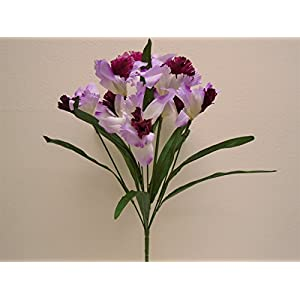 "LAVENDER BURGUNDY Cattleya Orchid Bush 9 Artificial Satin Flowers 23"" Bouquet 6026LVBU 67"