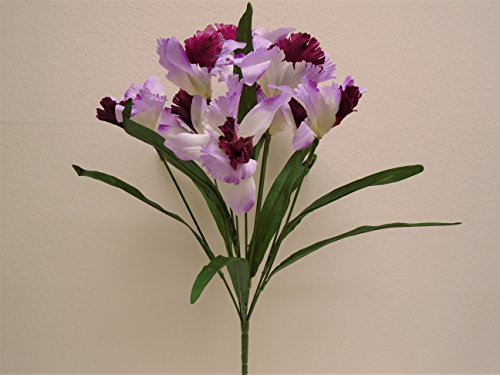 LAVENDER BURGUNDY Cattleya Orchid Bush 9 Artificial Satin Flowers 23