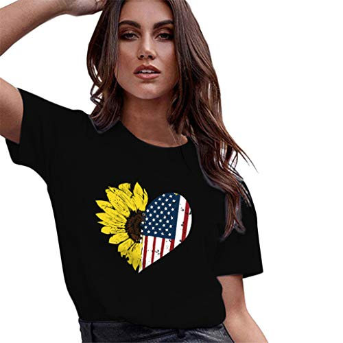 Answerl Women's American Flag Sunflower Print Short Sleeve Tee Casual T-Shirt Tops Blouse Independence Day Black