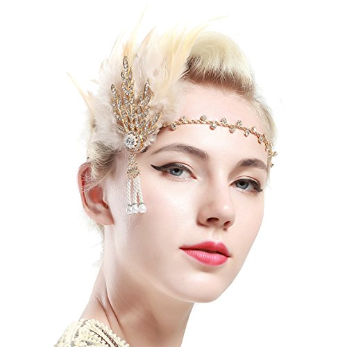 BABEYOND Art Deco 1920's Flapper Great Gatsby Inspired Leaf Medallion Pearl Headband Black Feather (Gold and Champagne Feather) ()
