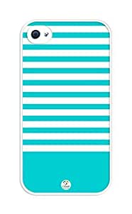 iZERCASE Dark Turquoise Stripes rubber iphone 4 case - Fits iphone 4 & iphone 4s