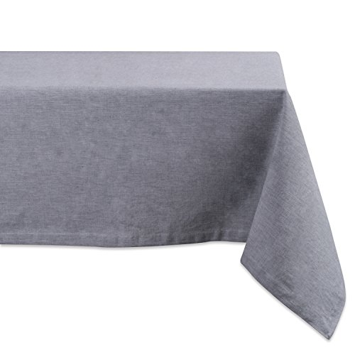 DII CAMZ36973 100% Cotton, Machine Washable, Everyday Kitchen Tablecloth for Dinner Parties, Summer & Outdoor Picnics-60x120 Seats 10 to 12 People, 60x120, Chambray Gray
