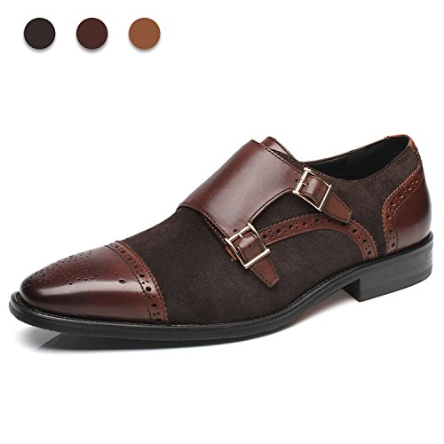 La Milano Mens Leather and Suede Double Monk Strap Loafer Dress Shoes Monk Leather