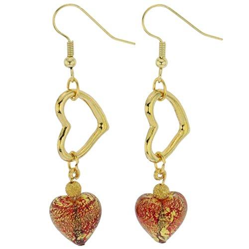 GlassOfVenice Murano Glass Ca D'Oro Venetian Heart Earrings - Red