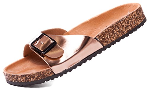 Bio Tieffußbettpantoletten Pantoletten Sandalen Comfort Slipper, Damen 0001025 (38, Rosegold)