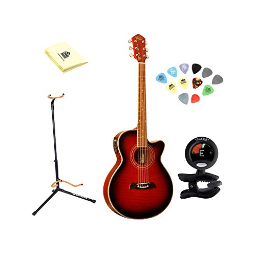 Electric Thin Body - Oscar Schmidt OG10CEFTR Flame Trans Red Concert Size Thin Body Guitar With Polishing Cloth, Picks, Tuner, and Stand
