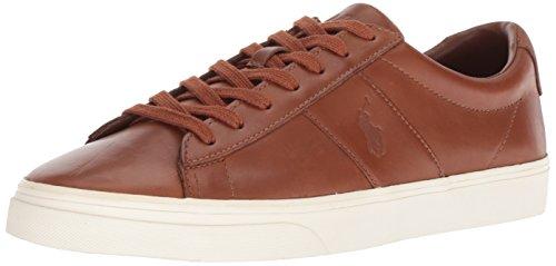Polo Ralph Lauren Men's Sayer Sneaker, deep Saddle tan, 10 D (Polo Ralph Lauren Saddle)