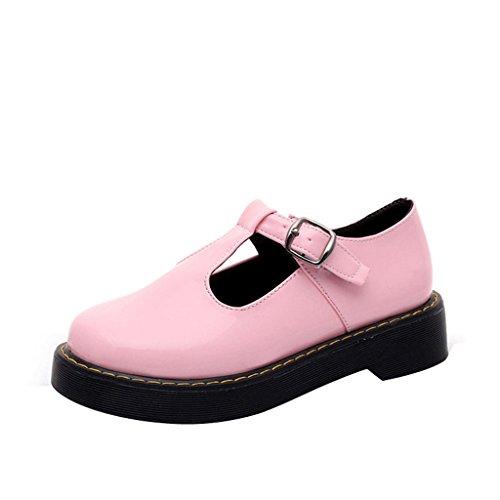 Estimado Tiempo Mujeres Pu Mediados De Talón Vintage Lather Shoes Pink