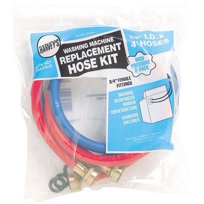 Harvey 93200 0 Washing Machine Hose With Fitting Washers, 3/4 In X 4 Ft, Female, Epdm Rubber -