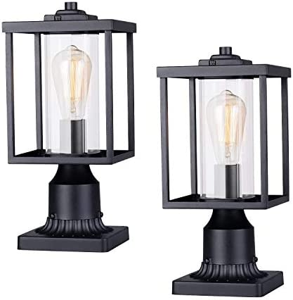 JAZAVA Outdoor Post Light Fixtures, Opening Design Exterior Post Lantern with Transparent Clear Glass, Pillar Lantern Pole Lamp with 3 inch Pier Mount Street Lighting for House Patio, 2 Pack
