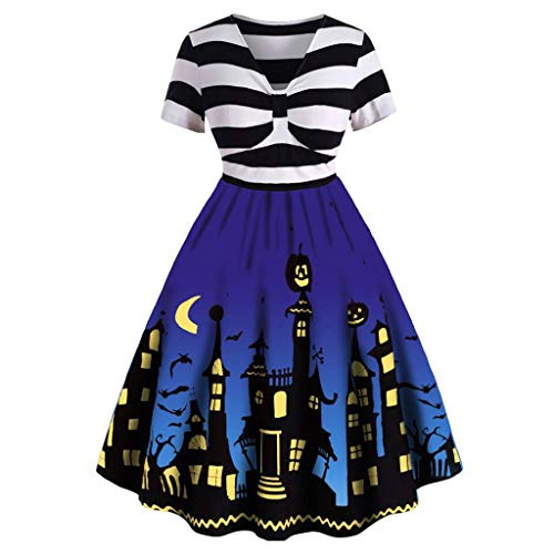 Womens Halloween Dresses Sleeveless A-Line Vintage Dress Witch Pumpkin Skull Printed Cocktail Swing Party Dress Costumes ()