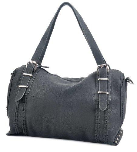 MSQ00623 Deyce 'Panna' Stylish PU Close-Out High Quality Women/Girl Fashion Designer Work School Office Lady Student Handbag Shoulder Bag Purse Totes Satchel Clutches Hobos (Black), Bags Central