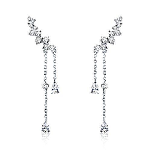 Chicinside CZ Crystal Ear Cuff Climbers Dangle Earrings Silver Tone