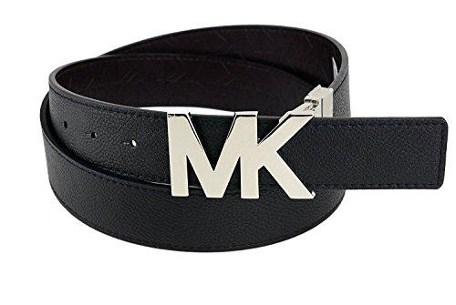 Michael Kors Reversible Black/Brown Belt with Silver MK Logo Plaque Size-M (Michael Kors Brown Belt)