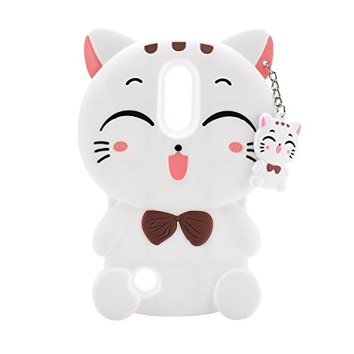 Samsung Galaxy S9 Plus Case, Maoerdo Cute 3D Cartoon White Plutus Cat Lucky Fortune Cat Kitty with Bow Tie Silicone Rubber Phone Case Cover for Samsung Galaxy S9 Plus (6.2 inch) from Maoerdo Silicone Case