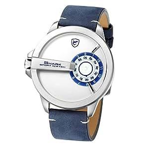 Shark Reloj Deportivo para Hombres, Banda de Cuero Sin diseño de Mano Cosa análoga Cuarzo XXL Reloj de Pulsera SH561: Amazon.es: Relojes