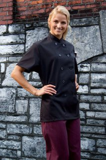 Uncommon Threads 0478 Women's Tahoe Short Sleeve Chef Coat Black 4X-Large