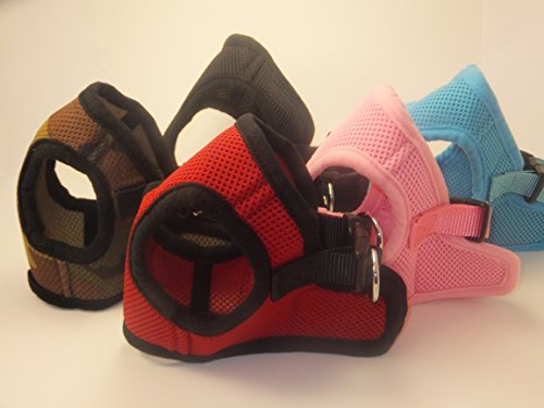 (Soft Mesh Comfy Step in Dog Vest Harness for Teacups, Toys, Minis, Puppies, Small Dog Breeds 2-16 lbs., Baby Pink, Sky Blue, Black, Red, Camo, X-small, Small, Medium, Large, X-large (Red, x-small))
