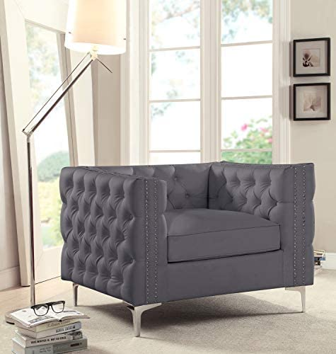 Iconic Home Da Vinci Accent Club Chair PU Leather Button Tufted