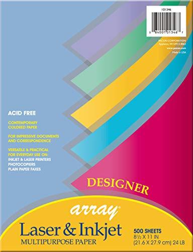 Pacon 101346 Array Colored Bond Paper, 24lb, 8-1/2 x 11, Assorted Designer Colors, 500 per ()