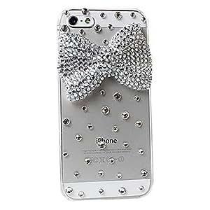 TY-Blanco Bowknot Caystal superficie trasera para el iPhone 5/5S