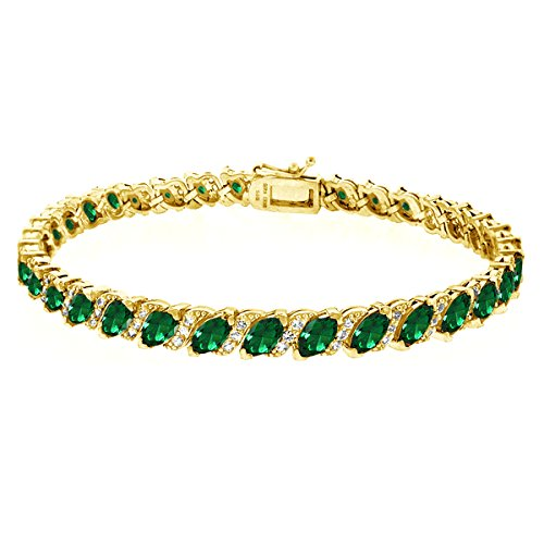 GemStar USA Gold Flashed Sterling Silver Simulated Emerald Marquise-Cut Tennis Bracelet with White Topaz Accents