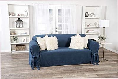 Classic Slipcovers one Piece Sofa Denim slipcover Blue