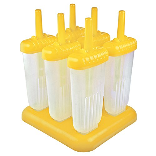 (Tovolo Groovy Ice Pop Molds, Drip-Guard Handle, 4 Ounce Popsicles, Set of 6, Yellow)