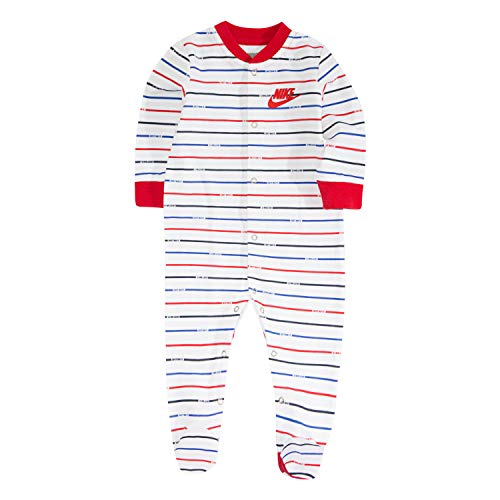 NIKE Children's Apparel Baby Graphic Footed Coverall, White/Red Stripe, 3M