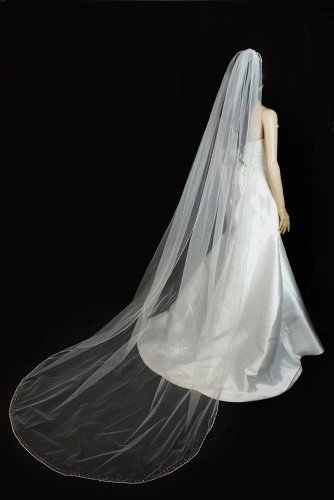 Bridal Veil Ivory 1 Tier Cathedral Length Edge With Beads And Crystals by Velvet Bridal (Image #1)