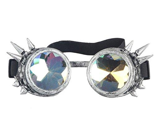Parte Halloween gótico Para gafas Remache lentes Cosplay Caleidoscopio antigua al Plata de Steampunk de viento de gafas espejo Vintage aq7gnvR6