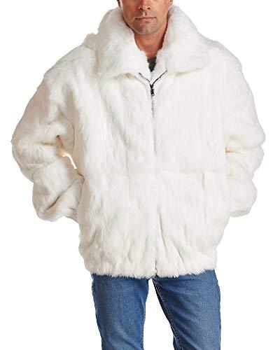 (White Rabbit Fur Hooded Bomber Jacket for Men - Large)