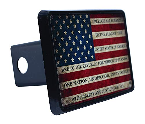 - Rogue River Tactical USA American Flag Trailer Hitch Cover Plug US Patriotic Vintage Pledge of Allegiance