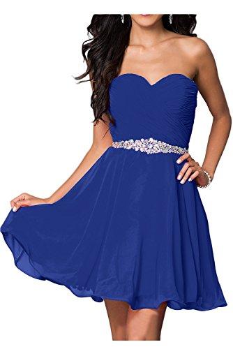 Chiffon Tanzenkleider Abendkleider Damen Charmant Royal Weiss mit Blau Summern Kurz Ballkleider Cocktailkleider Steine IwBI1qRxS