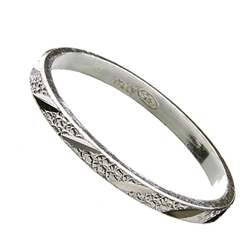 Sterling Silver Stackable Wedding Band Hammered Ring 2mm Italy Italian Size 9