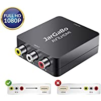 RCA to HDMI, AV to HDMI, JarGaBo 1080P Mini RCA Composite CVBS AV to HDMI Video Audio Converter Adapter for Xbox PS3 PS4 STB VHS VCR Camera DVD Game Console, Black