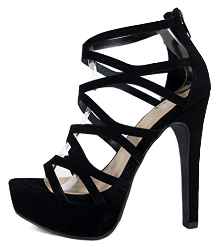 MVE Shoes Sexy Open Toe High Heel Sandals - Strappy Back Zipper Platform Sandals - Cute Party Dress Sandals, Sundown Black nbpu 10 (Sexy Fashion Shoes High Heel)