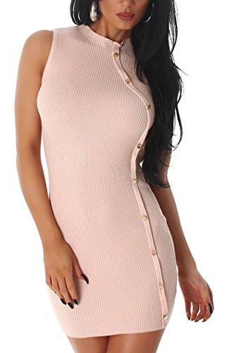 Vestido de mujer en cuello de costura con botones negros en talla única 32363840 Salmon Pink