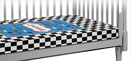Checkers & Racecars Crib Fitted Sheet - Set Bedding Crib Race Car