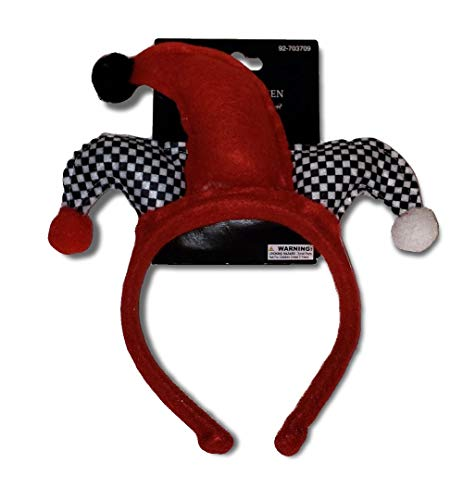 Momentum Brands Red & Black Checker Harlequin Jester Hat Felt Headband Party Hat for Adults or -