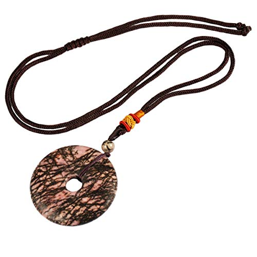 Nupuyai Reiki Healing Crystal Donut Pendant, Lucky Quartz Gemstone Pendant Necklace