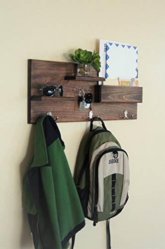 Coat Hooks and Key Hooks with Floating Shelves and Mail Storage Midnight Woodworks Original Entryway Organizer