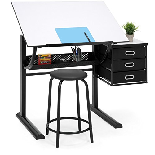 Best Choice Products Drawing Drafting Craft Art Table Folding Adjustable Desk w/Stool - Black/White (Desk Cheap Art)