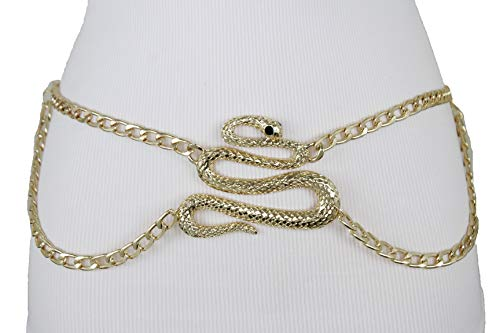 TFJ Women Belt Gold Metal Chain Waistband Big Cobra Snake Buckle Size XS S M