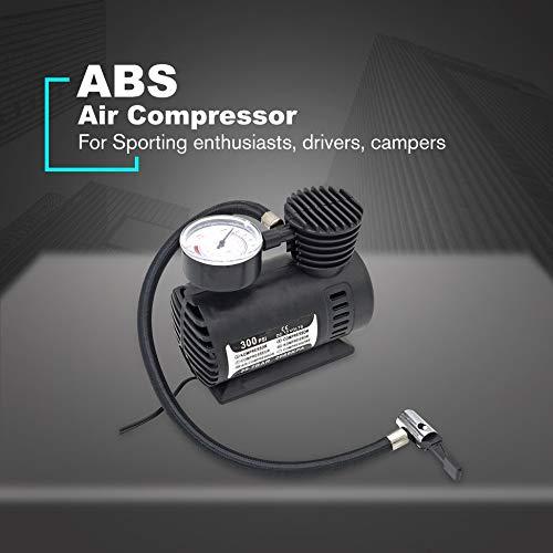 Negro Triamisu Mini compresor de Aire Bomba el/éctrica ABS Automotriz Durable Veh/ículo Bomba de Aire 300 PSI Bomba de inflado de neum/áticos DC 12V Piezas de autom/óvil
